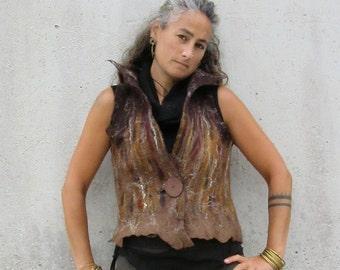 Woodland browns ~ Waistcoat ~ Nuno felt vest ~ Elfnfelt