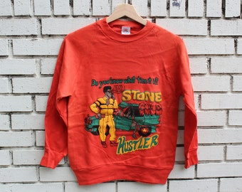 Deadstock STONE COLD HUSTLER Orange Crewneck Sweatshirt D.C. Scorpio Size S Small 100% Cotton 1980's Streetwear Hip Hop Rap