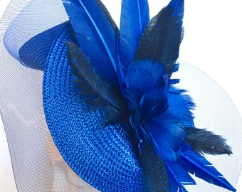 Kentucky Derby Royal Blue Red Fascinator Red Derby Church Hat Red Easter Hat