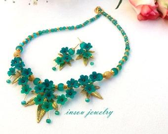 Emerald Jewelry, Flower Jewelry, Necklace Earrings Set, Emerald Earrings, Handmade Jewelry, Romantic Jewelry, Women Gift, Statement Necklace