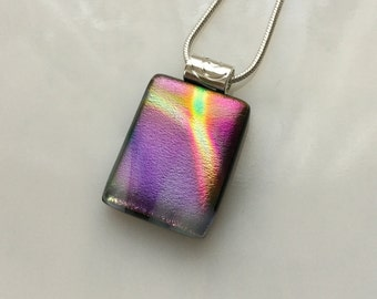 Dichroic Glass Pendant, Fused Glass Jewelry, Purple Pink Yellow Dichroic Necklace