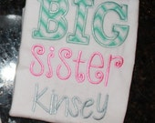 Big Sister Sibling Shirt - Monogrammed Boutique Style Puff Sleeve - Personalized Appliqued Monogrammed T-Shirt - Long or Short Sleeved