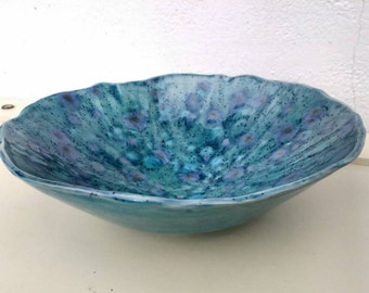 Pottery Bowl Crystal Glaze Earthenware - Made in UK - Perfect Wedding Gift idea - Blue