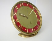 JAZ Large Red Vintage French Art Deco Alarm Clock in Very Good Condition - Functions Well - UNIQUE DESIGN