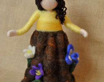 Spring Lady Waldorf inspired needle felted flower-doll: Spring Mother earth