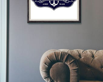 Navy Blue Custom Names Printable Gallery Wall Personalized Year Nautical Anchor Graphic Poster Print DIY Lake Home Beach House Decor