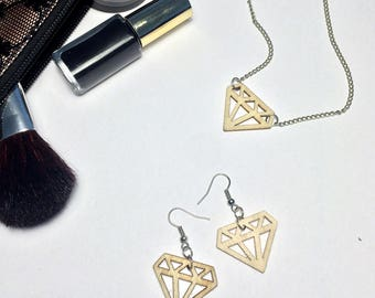 Wooden diamond earrings //  Laser cut earring // Laser cut wood earring // Girls gift // Vegan gift // Woman's gift  // Wood diamond