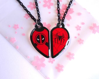 Deadpool & Spiderman BFF- Necklace Set