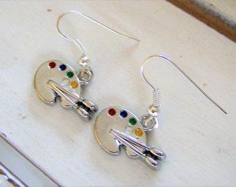 Artist palette metal earrings - artist palette charms - artist jewelry/earrings - artist gift/keepsake - painters artistic earrings - paint