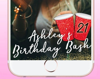 Happy Birthday Geofilter, Red Solo Cup Geofilter, Custom Birthday Geofilter Sparkly, Party Geofilter, Snapchat Geofilter, Party Decor
