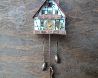 "Dollhouse miniature cuckoo clock in 1"" or 1:12 scale"