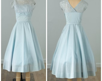 1950s Baby Blue Lace Cocktail Dress