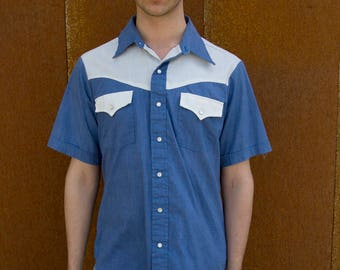 1970's Vintage Menswear Sears Western Short Sleeve Snap Button Tissue Thin Large Shirt