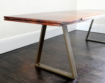 Trapezoid Metal Table Legs Pair