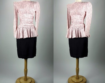 1980s pink rose print dress, long sleeve, ruched, peplum dress, All that Jazz, XS