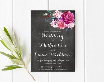 Printable Invitation, Floral Invitation, Burgundy Invitation, Purple  Invitation, Chalkboard Invitation, Bright