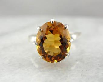Citrine Solitaire Ring in Sterling Silver, Golden Sunshine HTRLEX-P