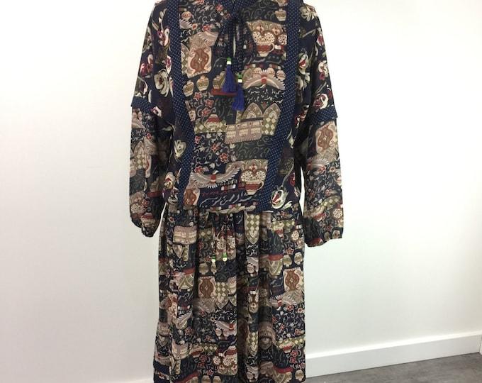 Vintage Diane Freis 2 piece set 1980s chiffon boho style skirt and blouse set