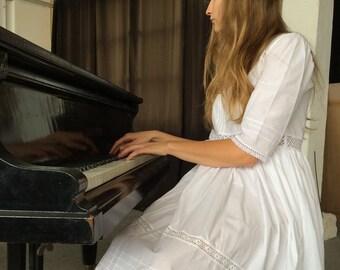 Handmade cotton lace summer dress / night gown / midsummer / size M Boho Bohemian