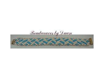 Blue and Pale Pink Bracelet, Peyote Bracelet, Beaded Bracelet, Seed Bead Bracelet, Cuff Bracelet, Beadwoven Bracelet, Beaded Cuff, Ladies