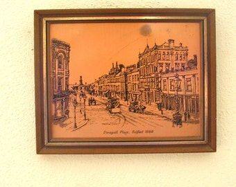 Vintage Irish copper etching engraving Donegall Place Belfast 1880 picture 1960s Coppercraft art Ireland framed wall hanging (X)