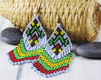 Cute tribal earrings ethnic jewelry long fringe earrings gay pride jewelry dangle earrings rainbow jewelry beadwork jewelry pretty earrings
