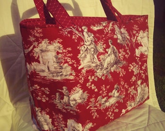 country living in red zippered bag