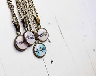 Yoga gifts for girlfriend Yoga jewelry gift for sister namaste jewelry gift for her namaste charm namaste necklace mala necklace meditation