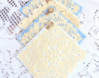 Set of Four {4} Fabric Coasters, Doily Coasters, Primitive Country, Shabby, Blue, Forget Me Nots, Free USA Shipping