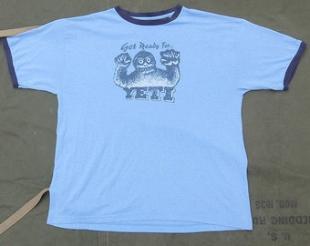 80s Vintage Yeti Ringer T Shirt Size XL Blue Heather