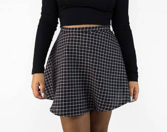 Black and White Grid High Waist Skirt