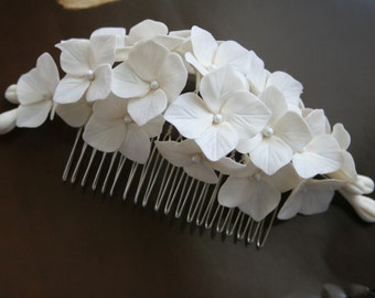 Hydrangea Hair comb Bridal hair accessories Bridal comb Bridal flower headpiece Bridal flower comb Bridal hair flower Wedding comb