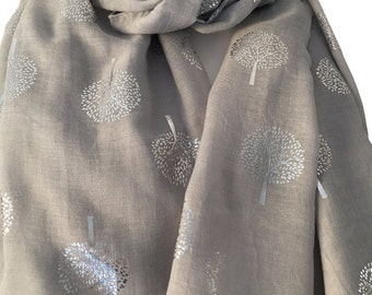 Grey Scarf with Silver Tree Print, Ladies Gray Trees Pattern Wrap Shawl, Summer Scarf