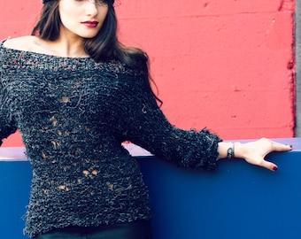 grunge sweater - loose knit - shoulder off sweater - fashion jumper - fall sweater - 90 grunge