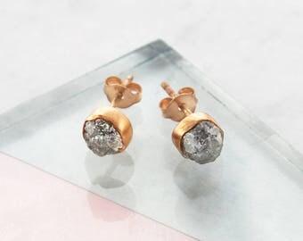 Rose Gold Diamond, Rose Gold Earrings, Raw Diamond, Rose Gold Studs, Birthday Gifts, April Birthstone, Embers Jewellery, Handmade Earrings