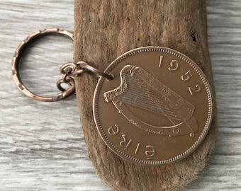 65th birthday gift, 1952 Old Irish penny keyring, harp keychain, St Patrick's day, present for him, man, woman, Ireland, purse handbag charm