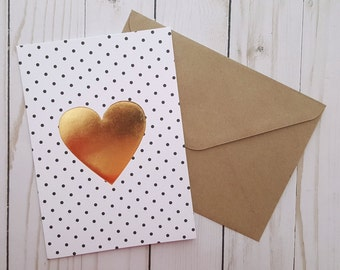 Gold Heart Valentines Card, Love Greeting Card, Anniversary Card, Childs Birthday Card, I Love You Card, Gold Foil