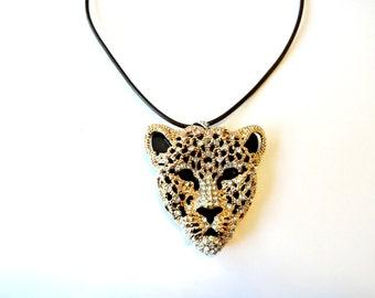 Leopard Necklace, Rhinestone Necklace, Rhinestone Choker, Statement Necklace, Leopard Jewelry, Rhinestone Leopard Pendant, Leather Choker