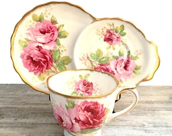 Royal Albert American Beauty Tea cup and Snack plate, Pink Roses, Hostess Set, Pink Rose Tea Cup and Tennis set, Cup and Biscuit, Gold Gilt