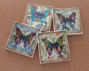 Set of 4 Tumbled Marble Tile Coasters - Vintage Butterflies
