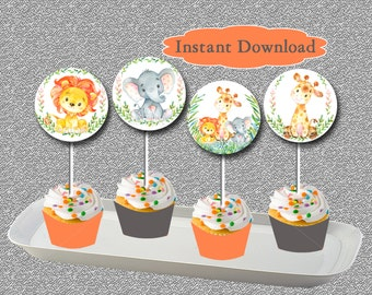 Safari Baby Shower Cupcake Toppers and Wrappers, Jungle cupcake toppers Printable INSTANT DOWNLOAD Safari Jungle Party Cupcake Toppers 001-A
