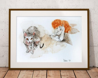 Watercolor painting Angel with Sphynx Cat. Original Watercolor and Ink Painting. Watercolour Portrait, Modern Art. Watercolor mixed media