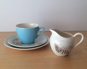 SALE- Vintage J&G Meakin- Rock Fern Tea Set- Tea Cup, Saucer, Side Plate and Milk Jug