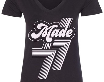 Made in 1977 Women's V-Neck Fitted T-Shirt 40th Birthday Party Born In '77 - TA_00399