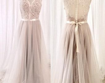 A Line Wedding Dress, Long Wedding Dress, tulle wedding dress, Bridal Dress, Wedding Gown, Bridal Gown, summer wedding dress, Boho Wedding D