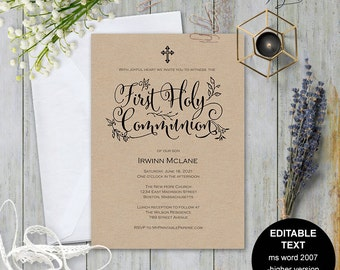 First communion invitation, first communion invite, Printable first communion, first holy communion , Invitation template, #S11-FCI