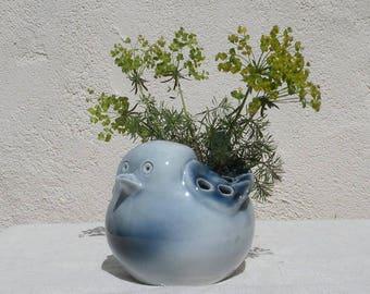 Porcelain blue bird flower vase by Virebent of France, decorative vase, retro vase, nursery decor, gifts for her, bird vase, unique gift