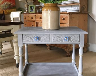 Lovely Table With Drawers And New Cornflower Blue Glass Knobs, Painted Earth Stone.