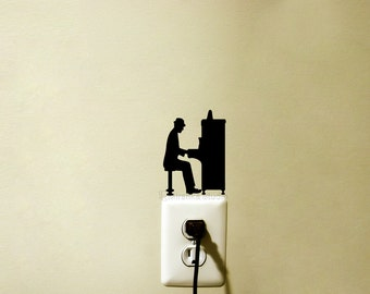 Man Playing Piano  Light Switch Velvet Sticker - Piano Wall Decal - Classical Music Wall Art - Instrument Decor - Music Lover - Piano Art