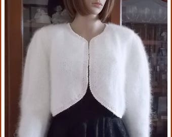 Woman ivory silk and Angora Bolero Cardigan